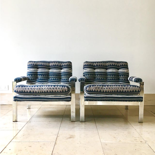 A Pair of Chromium Steel Framed Armchairs by Cy Mann 1970s Fully reupholstered by Talisman here in our UK workshops in a...