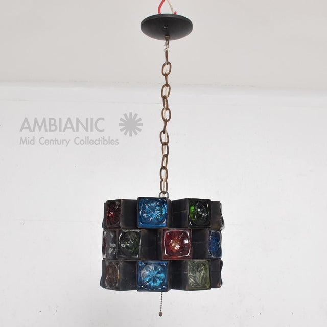 Feders Pendant Ceiling Fixture Handblown Glass and Steel Brutalist Chandelier - Image 2 of 8