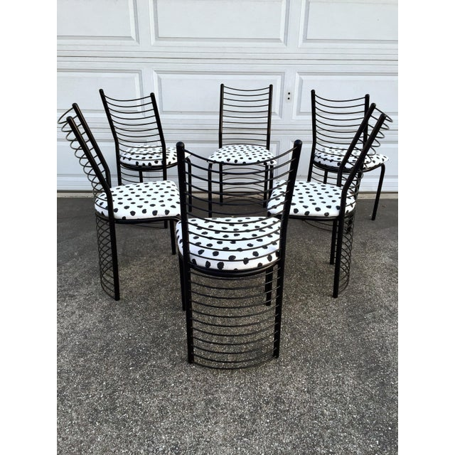 Modern Regency Style Wire Barrel Chairs - Set of 6 For Sale - Image 4 of 7