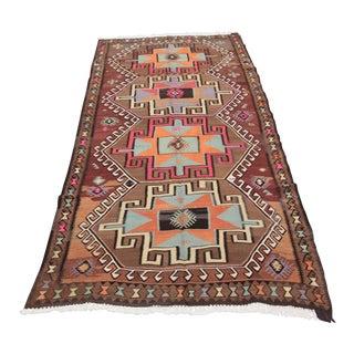 Turkish Vintage Room Size Kilim Rug For Sale