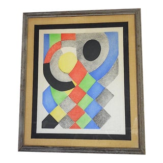 Vintage Mid 20th C. Pncl Signed/Numbered Etching-Abstract Composition-Sonia Delaunay (Russia/Fr. 1855-1879)-Framed