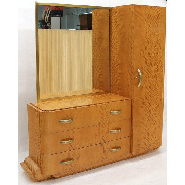 French Art Deco Chifforobe Dresser With Mirror Closet Cabinet Tiger Maple For Sale - Image 9 of 13