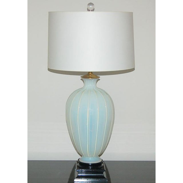 Hollywood Regency Marbro Murano Opaline Glass Table Lamps White For Sale - Image 3 of 10