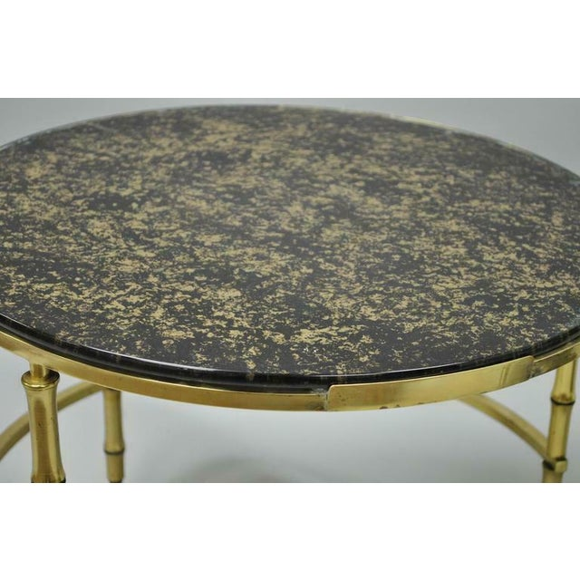 1970s Hollywood Regency Brass and Glass Faux Bamboo Round Nesting Expanding Cocktail Coffee Side Table For Sale In Philadelphia - Image 6 of 11