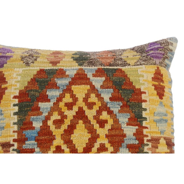 """Asian Christop Gold/Lt. Blue Hand-Woven Kilim Throw Pillow(18""""x18"""") For Sale - Image 3 of 6"""