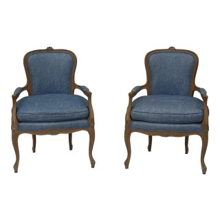 Vintage French Louis XVI Style Vintage Upholstered Arm Chairs- a Pair For Sale