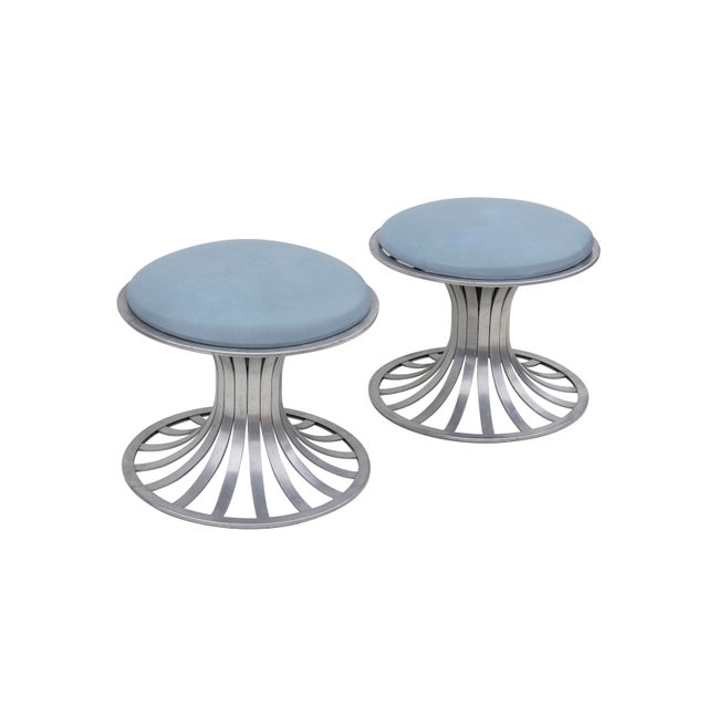 Round Tulip Style Aluminum Ottomans by Russell Woodard, Pair For Sale - Image 6 of 6
