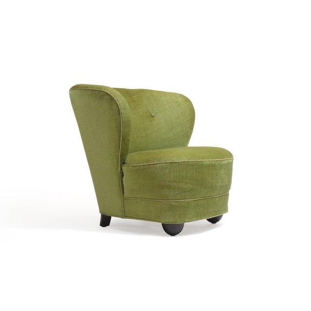 Mohair 1930s Danish Slipper Chair in Original Green Mohair For Sale - Image 7 of 11