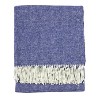 Indigo Italian Herringbone Throw For Sale