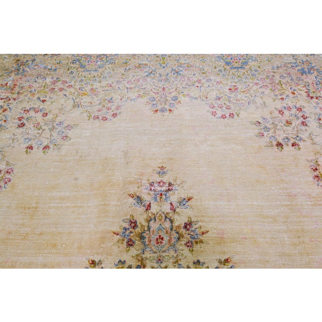 Vintage Persian Kerman hand knotted rug organic wool with natural colors and fine weave.