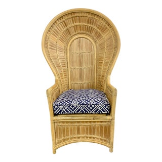 Vintage Boho Chic Split Bamboo Peacock Style Chair For Sale