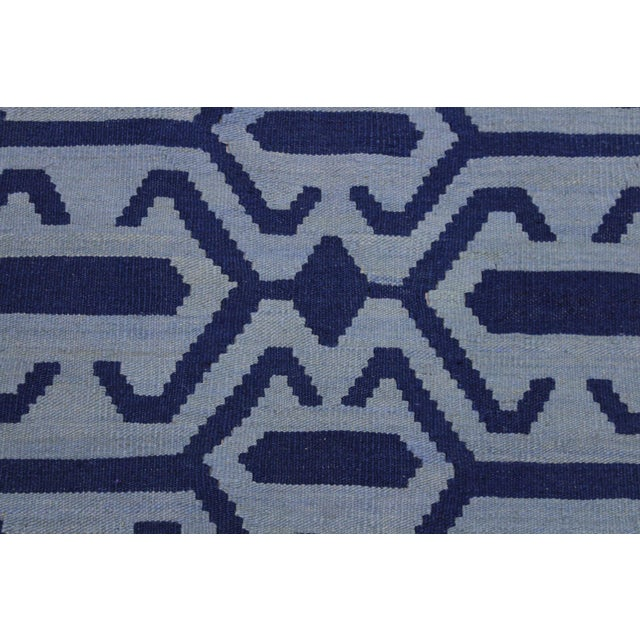Contemporary Kilim Sager Blue Hand-Woven Wool Rug- 4′4″ × 5′9″ For Sale - Image 4 of 8