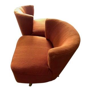 1950s Kroehler Orange Unusual Swivel Chairs - a Pair For Sale