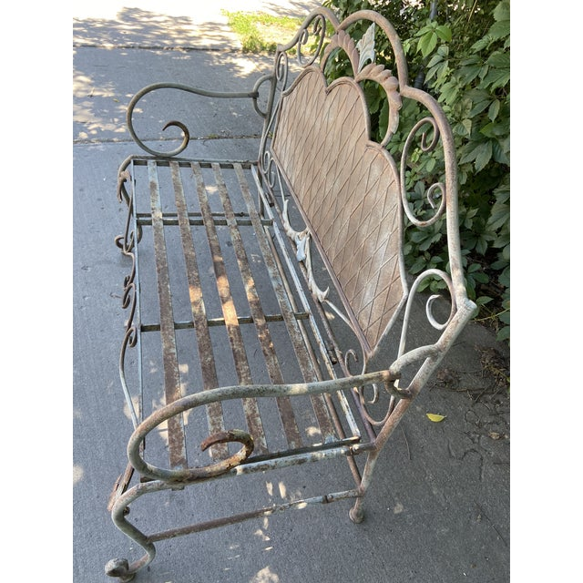 French Antique Wrought Iron Outdoor Folding Bench For Sale - Image 11 of 12