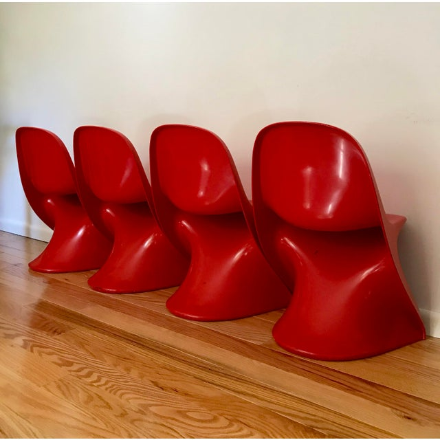 1970s 1970s Space Age Casala Casalino Red Stacking Child's Chairs - Set of 4 For Sale - Image 5 of 12