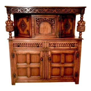 19th Century English Traditional Carved Oak Court Cupboard For Sale