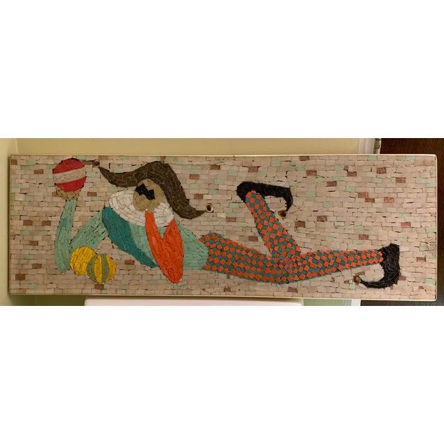 Vintage Harlequin Jester Tile Mosaic Wall Hanging For Sale - Image 4 of 12