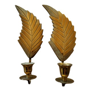 Mid 20th Century Leaf Feather Pattern Brass Candle Sconces - a Pair For Sale