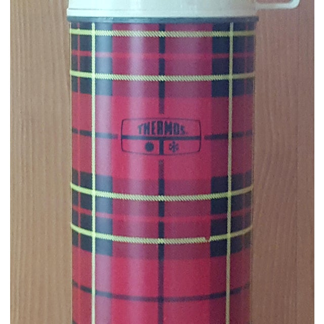 American Vintage Red Plaid Thermos For Sale - Image 3 of 6