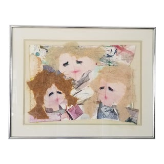 Catherine Heno Suffel Mixed Media Collage Impressionist Painting For Sale