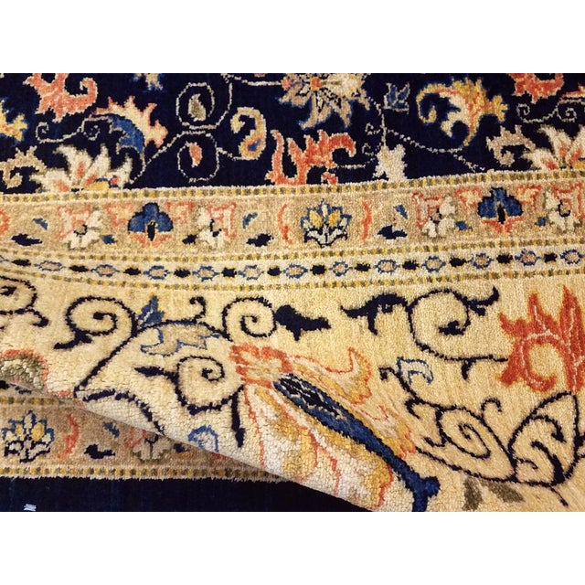 "1980s Kafkaz Peshawar Betsy Blue & Gold Wool Rug - 9'10"" x 13'6"" For Sale - Image 5 of 7"