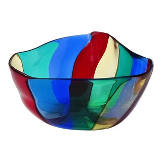 Murano Vintage Red Yellow Blue Green Rainbow Bands Italian Art Glass Mid Century Vide-Poche Dish For Sale