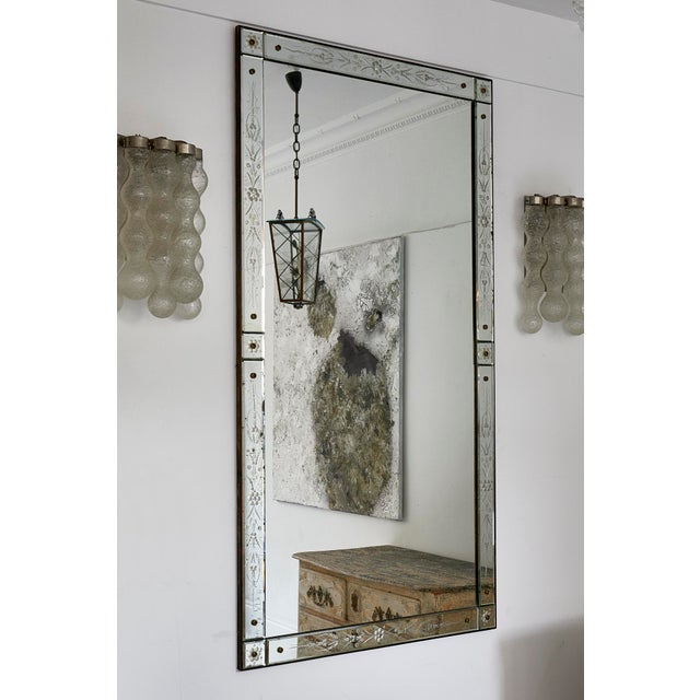 Glass Large Italian Venetian Mirror For Sale - Image 7 of 9