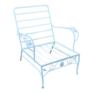 Woodard Mid Century Wrought Iron Arm Chair For Sale