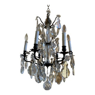 French Louis XVI Cage Style Crystal Chandelier For Sale