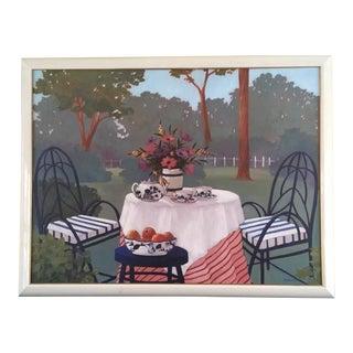 Brenda Morrison Oil Painting Tea in the Garden For Sale