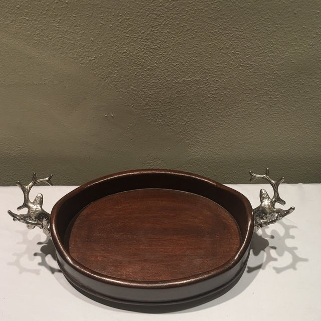 Beautiful wooden serving tray with deer head handles. A majestic piece as a centerpiece or serving tray, perfect for the...