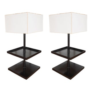 Square Two Tier Bronze Tables With Lamps by Robert Bray and Michael Schaible - a Pair For Sale