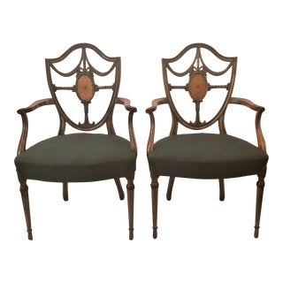 Pair Antique English Shield Back Mahogany Arm Chairs, Circa 1870-1890. For Sale