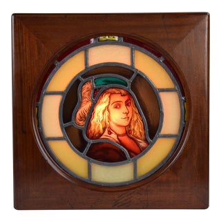 Antique Stained Glass Portrait of Young Woman in Hat in Backlit Display Box For Sale