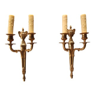 1950's French Louis XVI Style Gilt Bronze Wall Sconces - A Pair For Sale