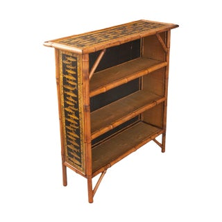 English 19th Century Bamboo and Découpage Fish Bookcase For Sale