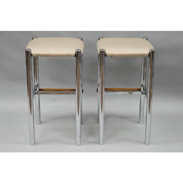 Pair Mid Century Modern Chrome & Oak Wood Barstools Bar Stools Vtg Baughman Era - Image 10 of 11