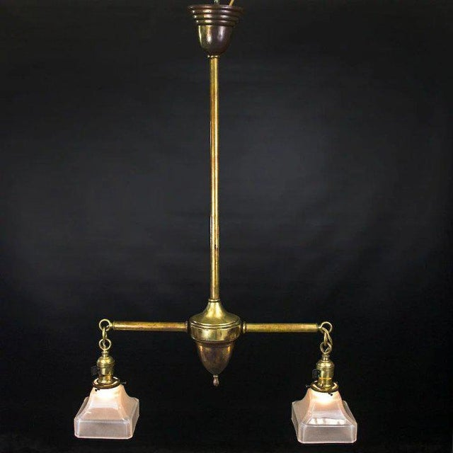 Arts & Crafts Period American Arts and Crafts Brass Two Light Fixture For Sale - Image 3 of 7