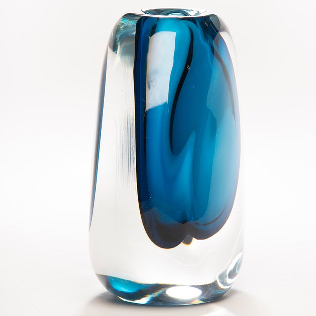 2010s Tall Blue Sommerso Art Glass Vase For Sale - Image 5 of 12