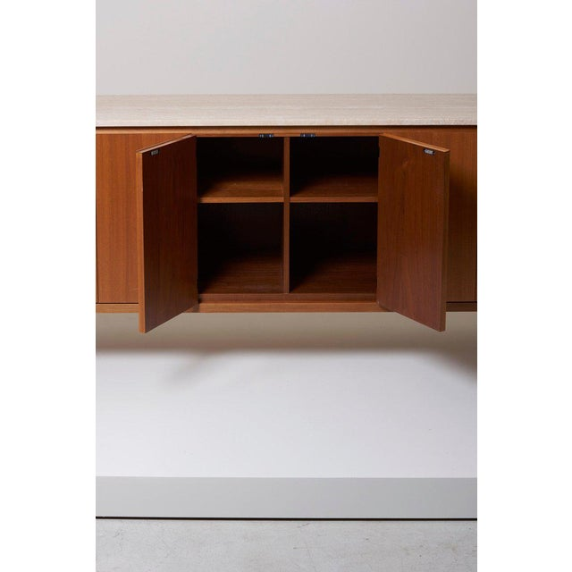 Stone Travertine Top Paul McCobb Credenza or Sideboard 7306 for Directional / Wk Möbel For Sale - Image 7 of 9