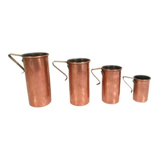 Vintage Copper and Brass Measuring Cup Set - 4 Pieces For Sale