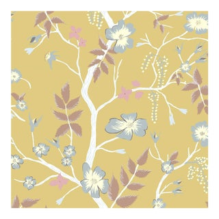 Lewis & Wood Cinda's Roses Sunshine Botanic Style Wallpaper Sample For Sale