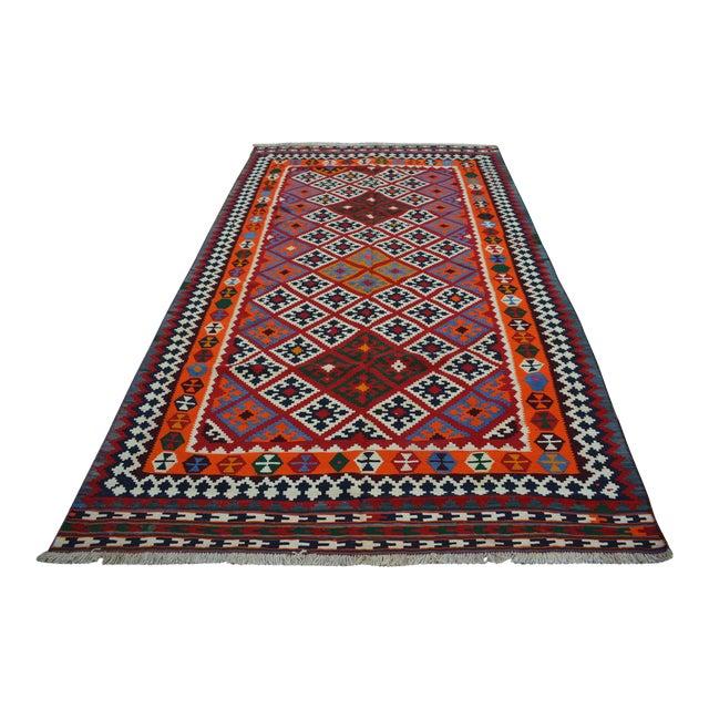 Persian Handwoven Wool Kilim Rug - 5′2″ × 9′9″ For Sale