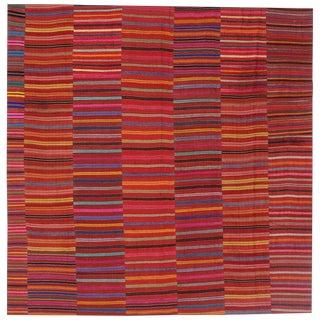 Mid Century Vintage Turkish Jajim Kilim Flat-Weave Rug- 9′5″ × 9′7″ For Sale