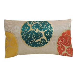 Vintage Japanese Orange Silk Circle Medallions Lumbar Decorative Pillow For Sale
