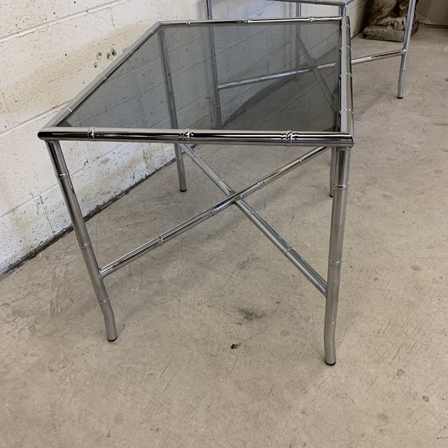 70s Faux Bamboo Chrome and Smoke Glass End Tables - a Pair For Sale - Image 4 of 13