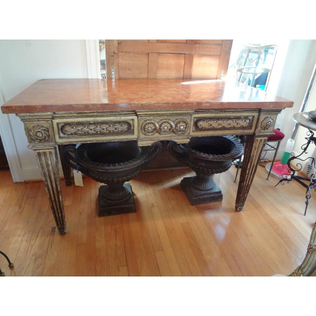 17th Century Italian Gilt Wood With Marble Top Console Table For Sale - Image 9 of 10