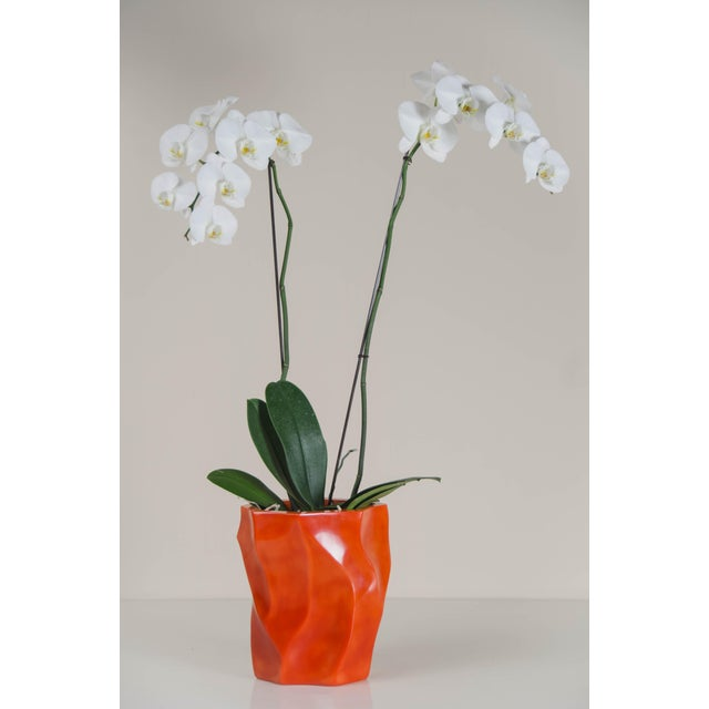 Orange Bamboo Shaven Vase by Robert Kuo For Sale - Image 8 of 9