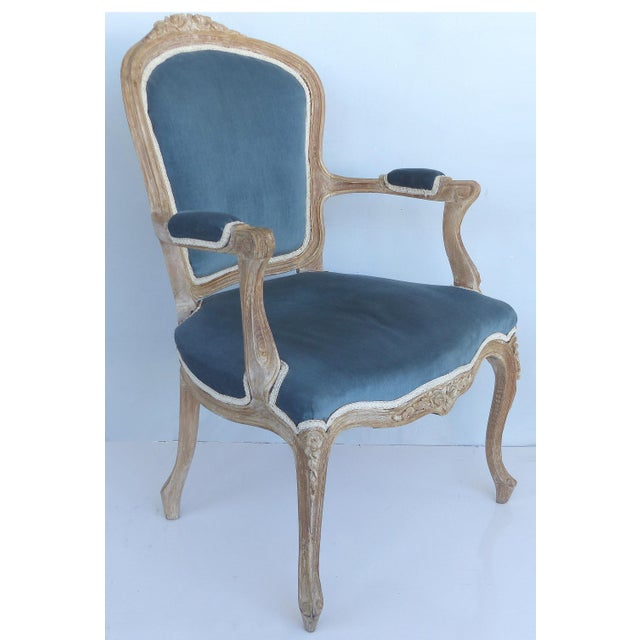 French Limed Louis XV Style Fauteuil Chairs With Velvet Mohair Seats With Trim For Sale In Miami - Image 6 of 13