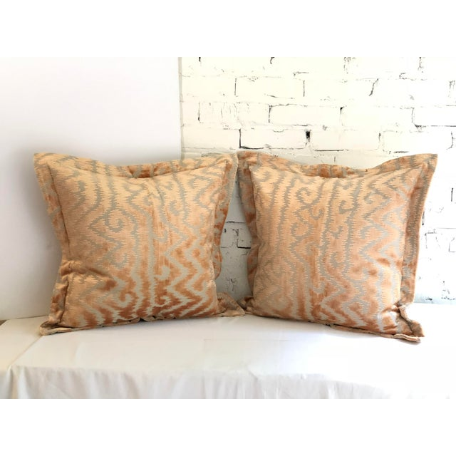 """Fabulous pair of 24"""" square flange edge pillows in a taupe and blush cut velvet. The pillows have a back hidden zipper, a..."""